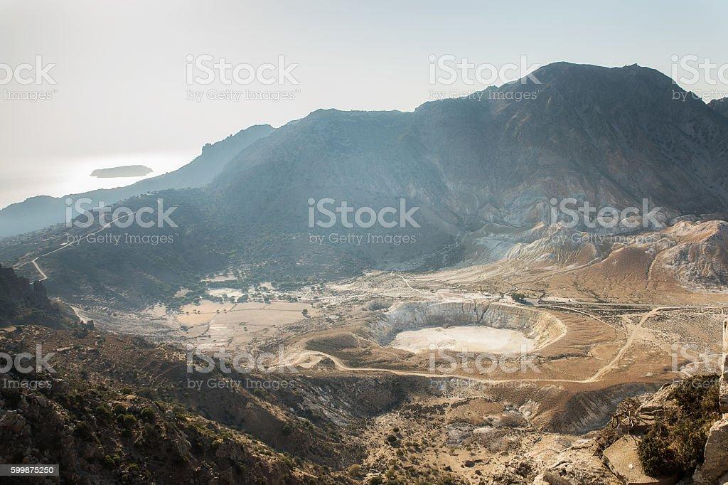 Nisyros island volcano  with Aegean sea stock photo