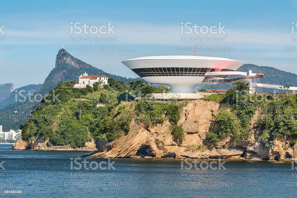 Niteroi Museum church and Christ the Redeemer stock photo