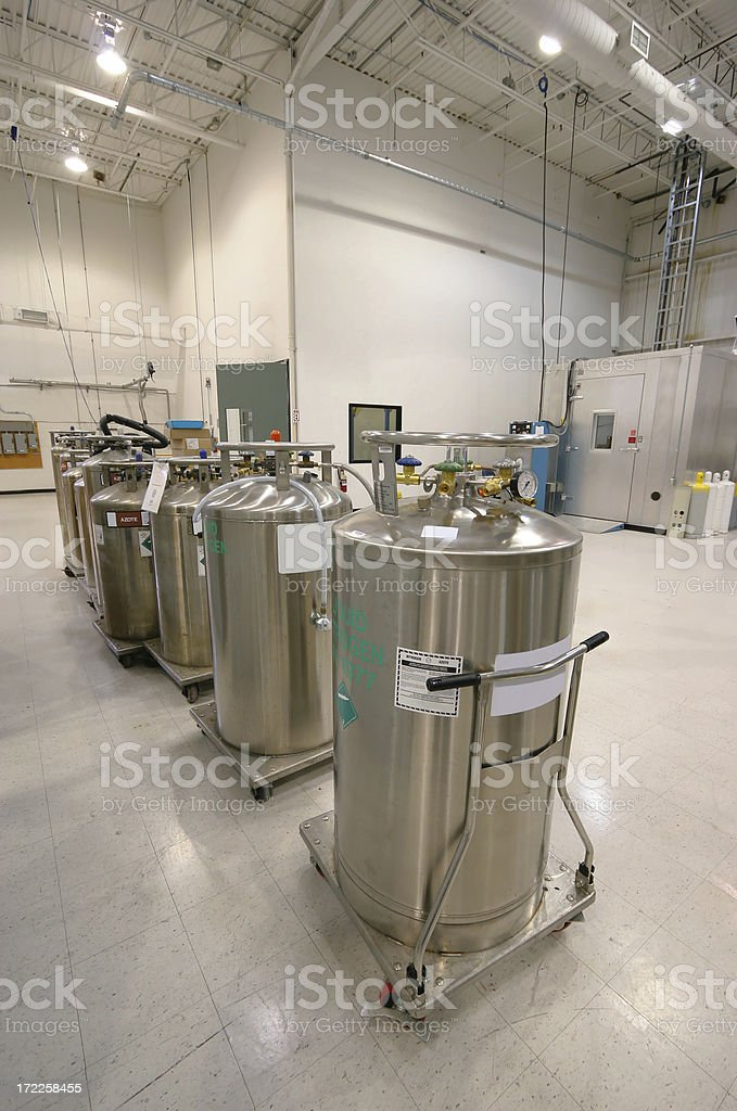 Nitrogen Containers inside an Industrial Building royalty-free stock photo
