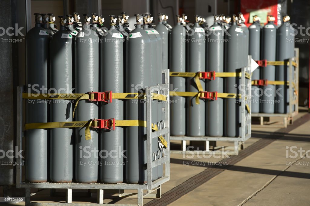 Nitrogen gas bottles stock photo