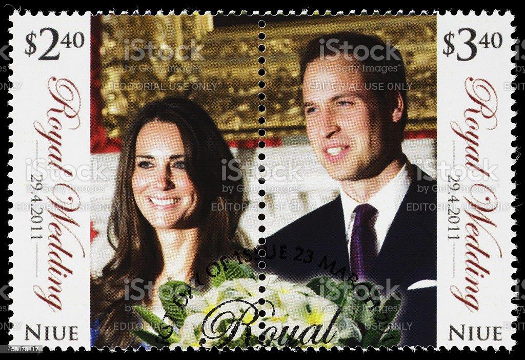 Niue Prince William and Kate Middleton royal wedding postage stamp royalty-free stock photo