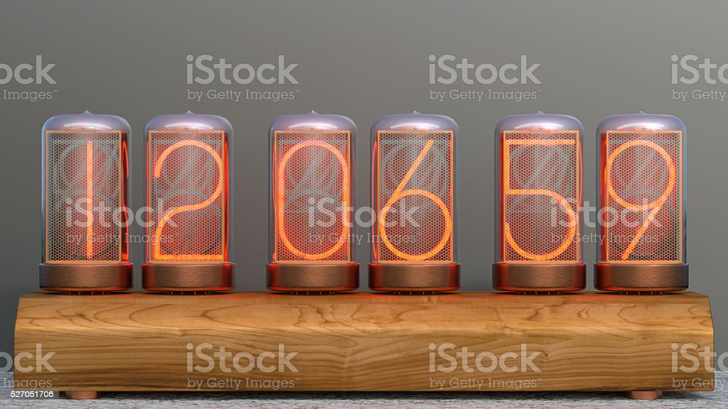 Nixie Tube clock stock photo