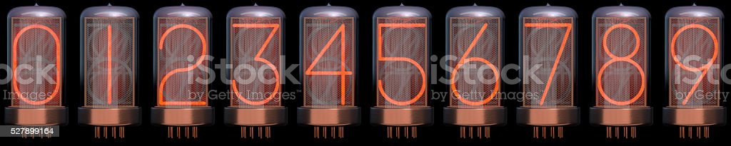 Nixie Tube Numbers 0-9 stock photo