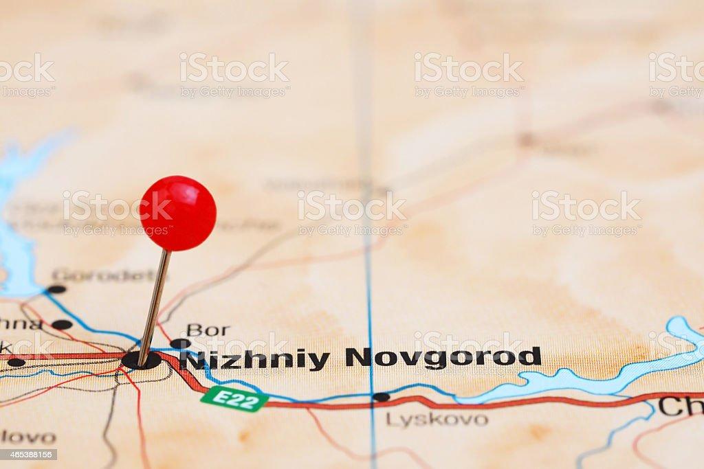 Nizhniy Novgorod pinned on a map of europe stock photo