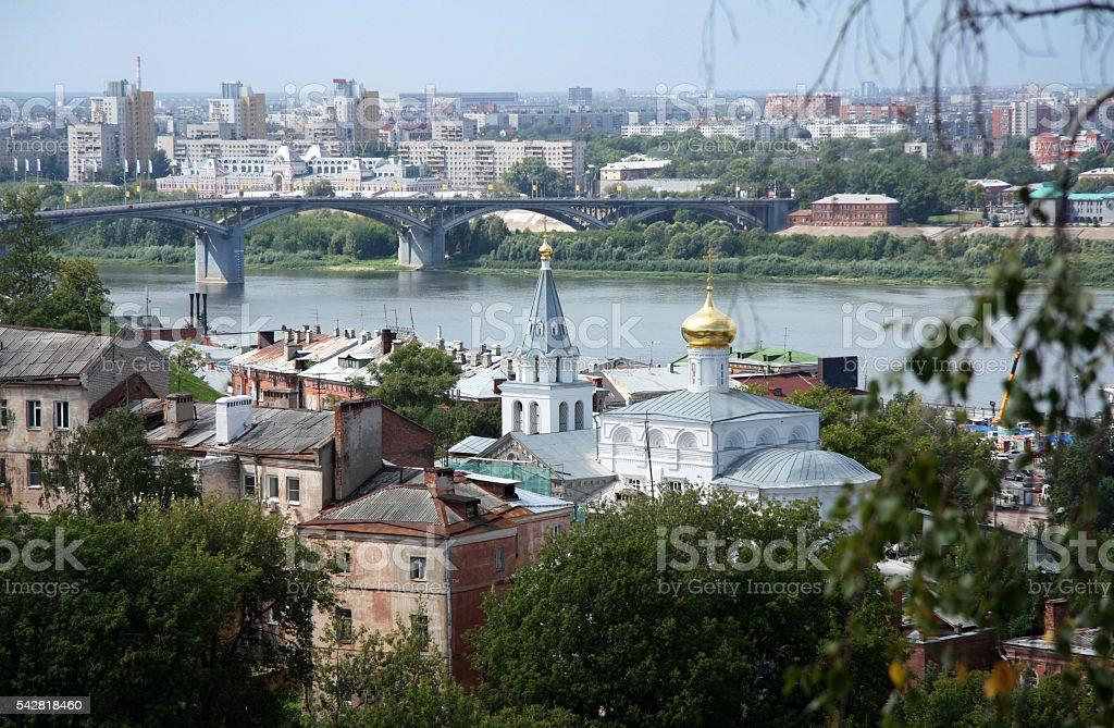 Nizhniy Novgorod view with Volga river and a church stock photo