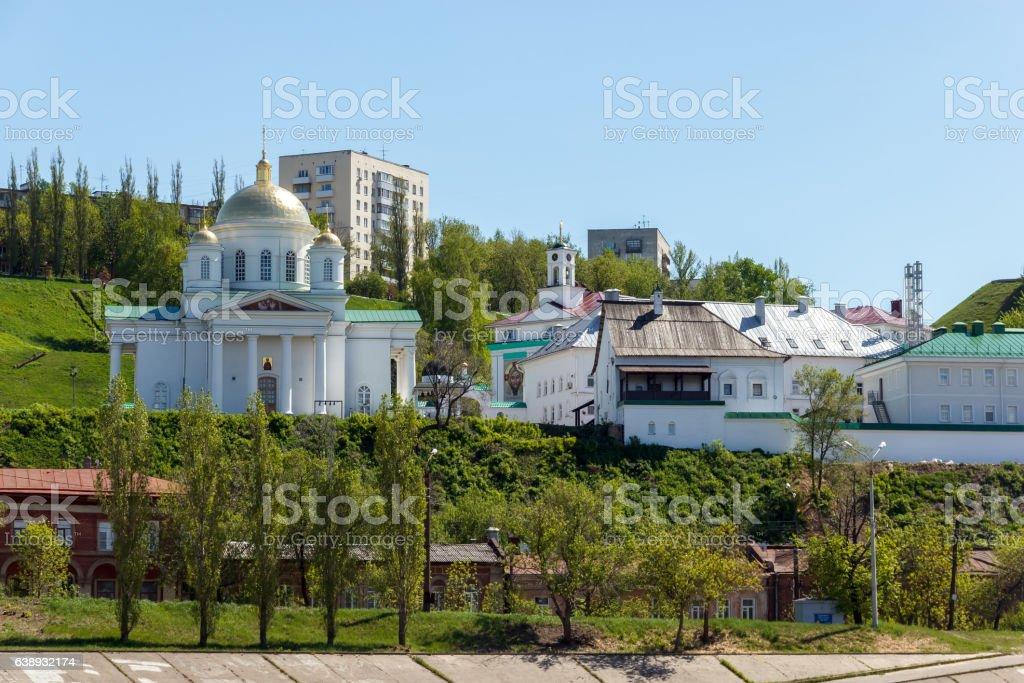 Nizhny Novgorod. Alekseevskaya Church and the Annunciation Monastery stock photo