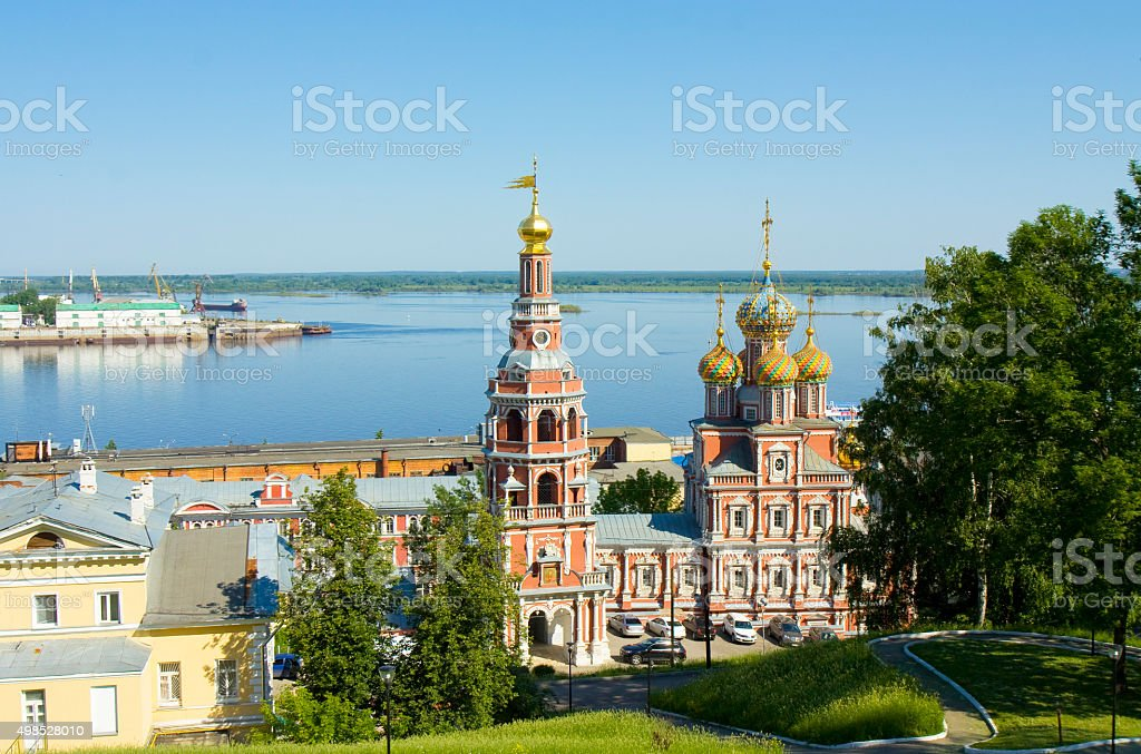 Nizhny Novgorod, Stroganovskaya church stock photo
