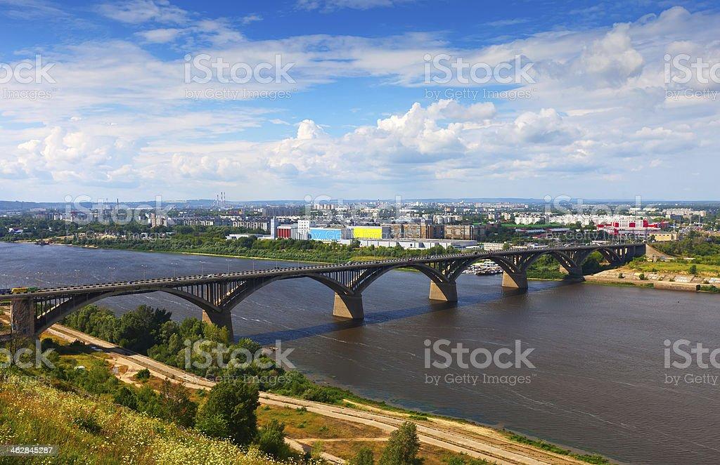 Nizhny Novgorod with Molitovsky bridge through Oka River stock photo