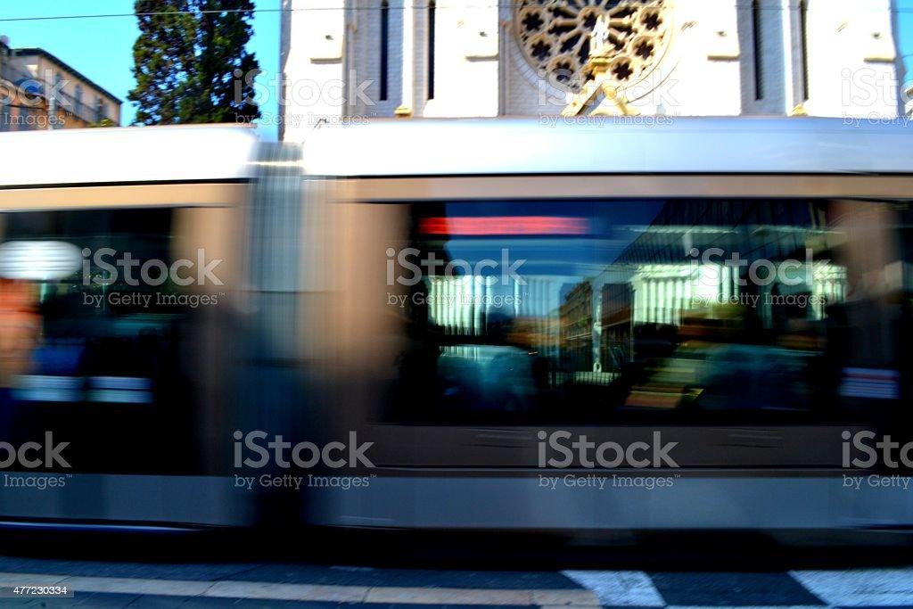 Nizza, Costa Azzurra. Tram per le vie della città stock photo