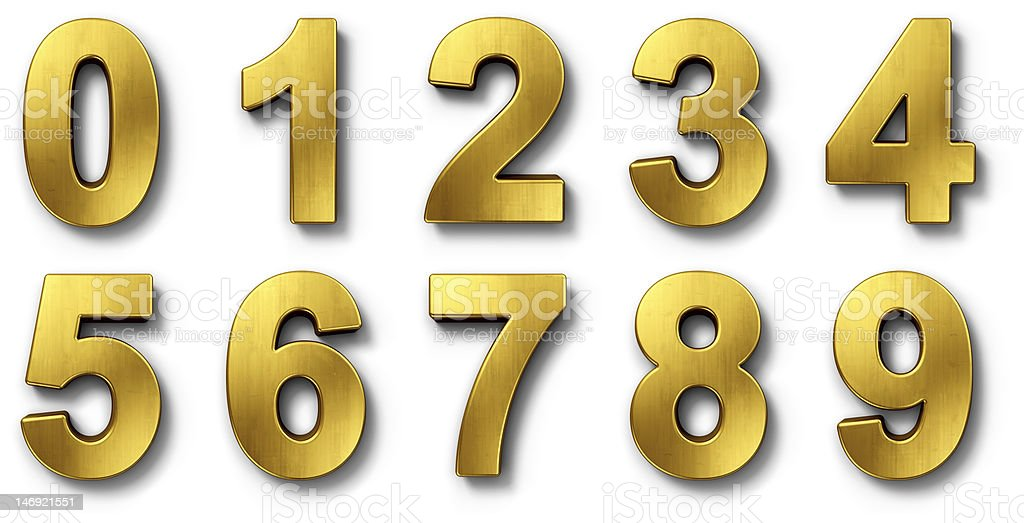 Nnumbers in gold stock photo