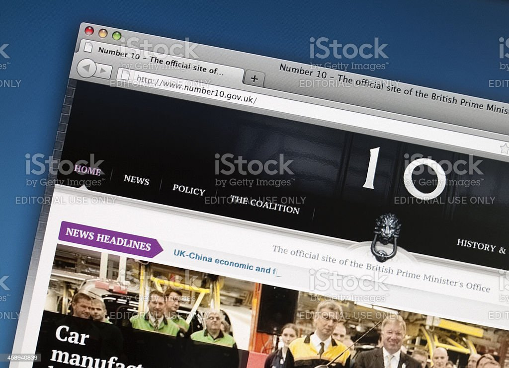 No 10 Downing Street website stock photo