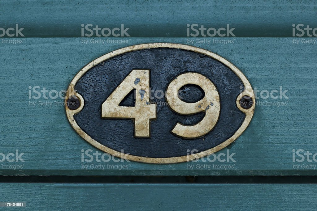 No. 49 number plaque stock photo