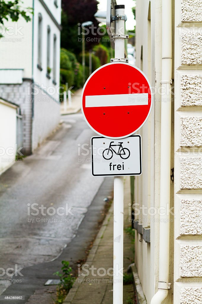 No access road sign, one-way street stock photo