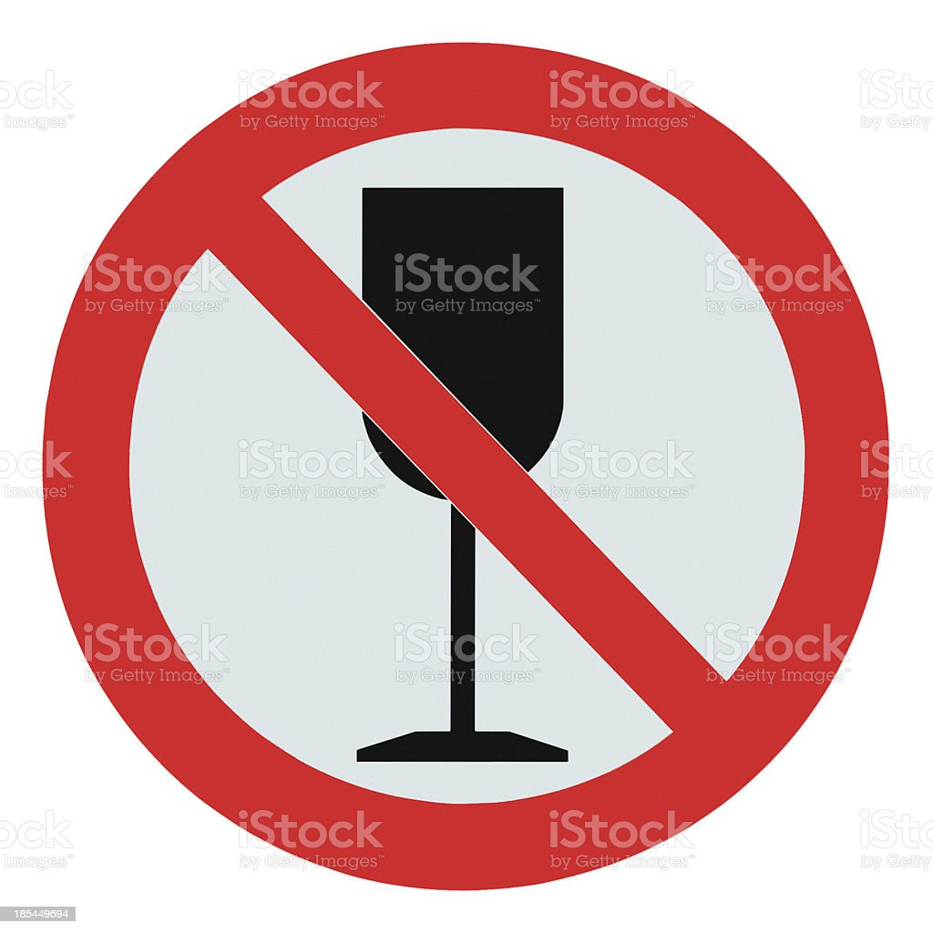 No alcohol sign, isolated drink prohibition zone crossed goblet signage royalty-free stock photo