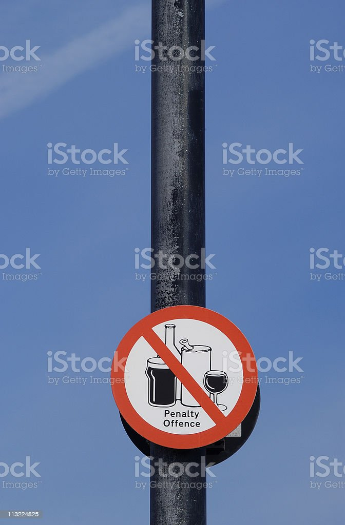 no alcoholic drinks public sign royalty-free stock photo