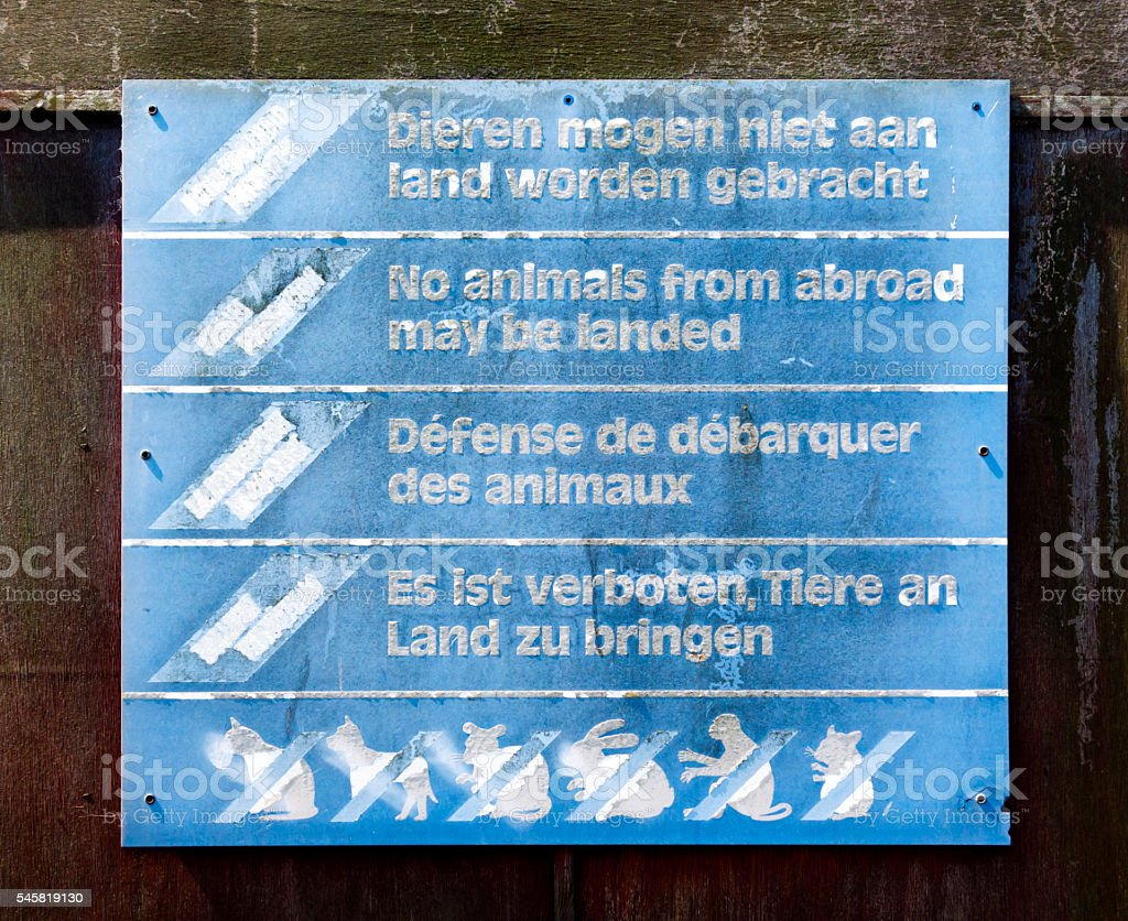 No animals from abroad may be landed - sign stock photo