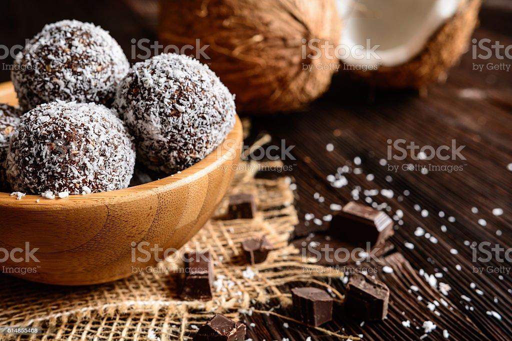 No bake coconut balls stock photo