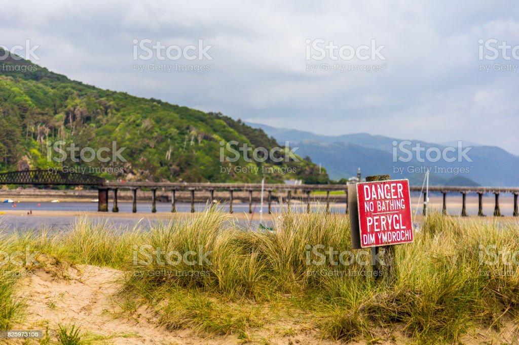 No Bathing sign stock photo