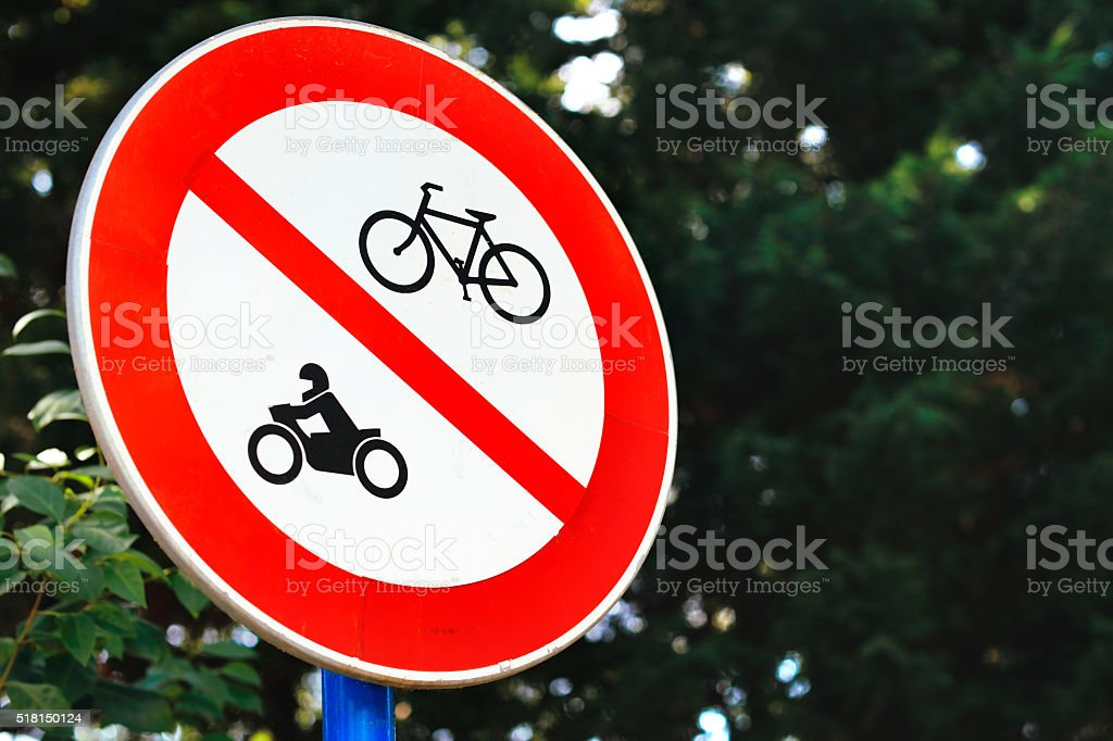 No Bicycle & Motorcycle Sign stock photo