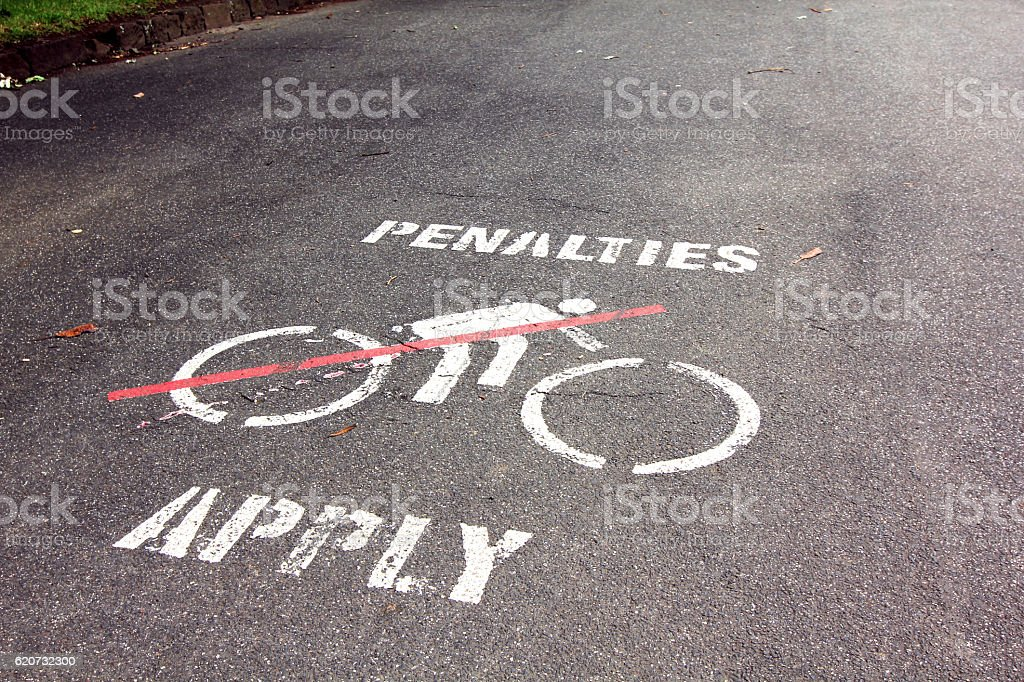 no bicycle traffic sign on the ground stock photo