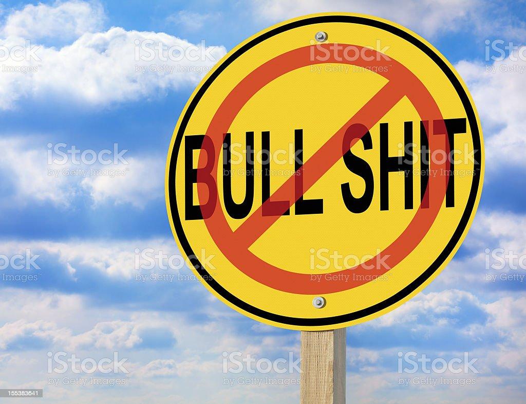 No Bull Shit Road Warning Sign royalty-free stock photo