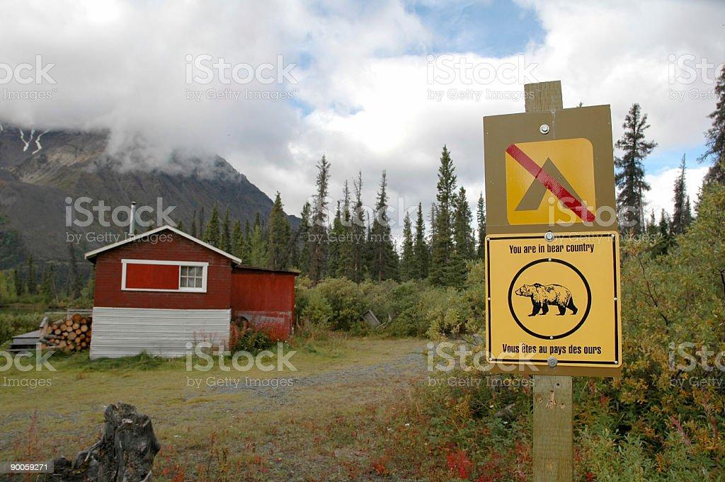 No Camping sign and bear sign royalty-free stock photo