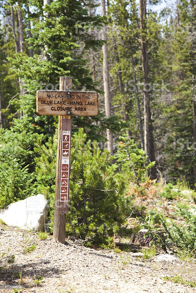 No Camping sign in Rocky Mountains stock photo