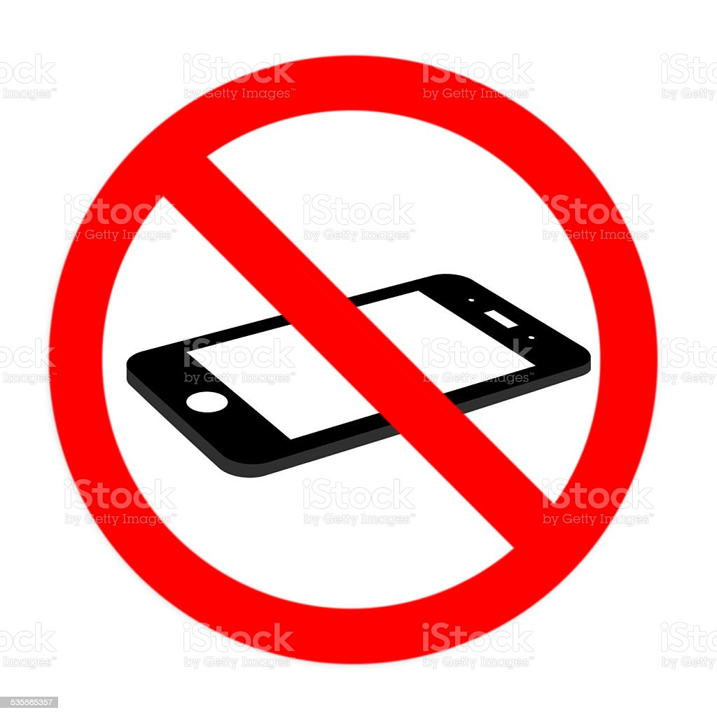 No cell phone sign, flat cell phone stock photo