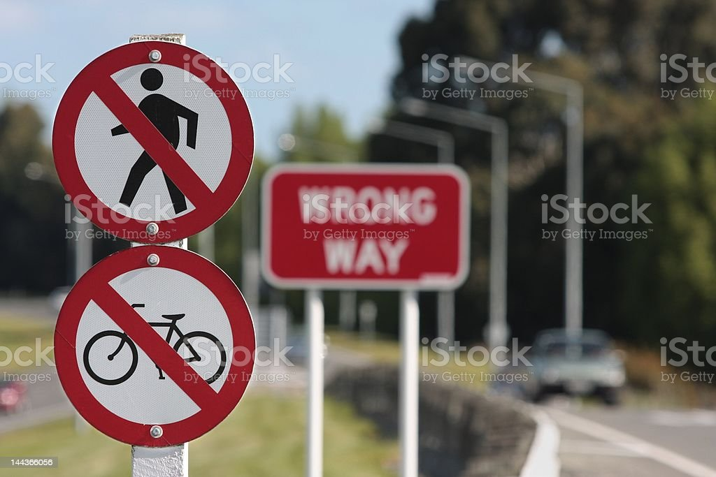 No cycles or pedestrians on motorway. stock photo