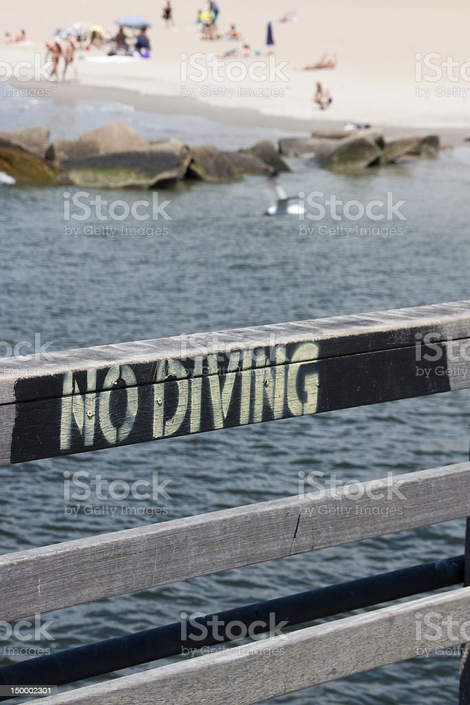 No Diving on Coney Island Pier royalty-free stock photo