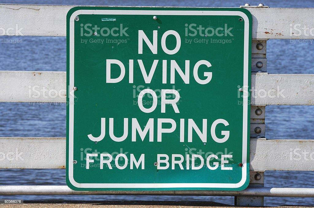 No Diving or Jumping Sign royalty-free stock photo