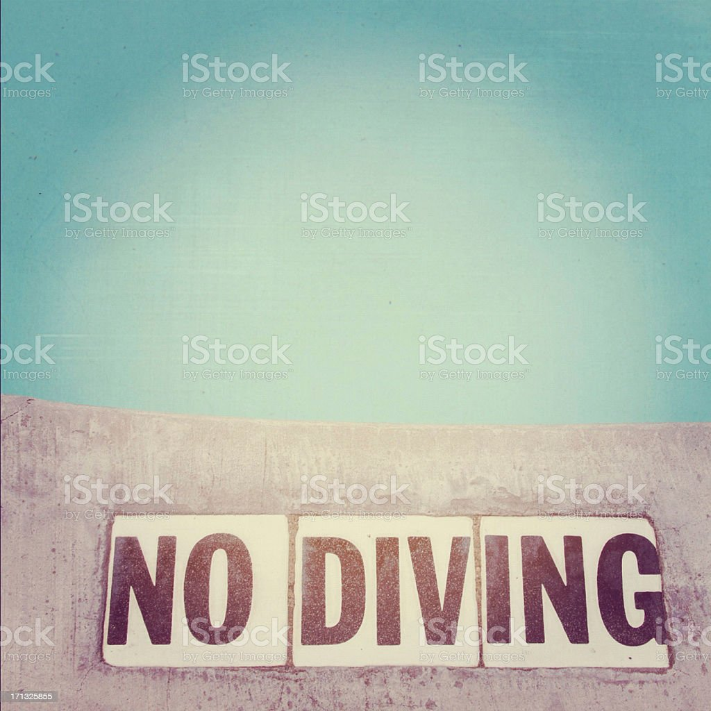 No diving pool stock photo