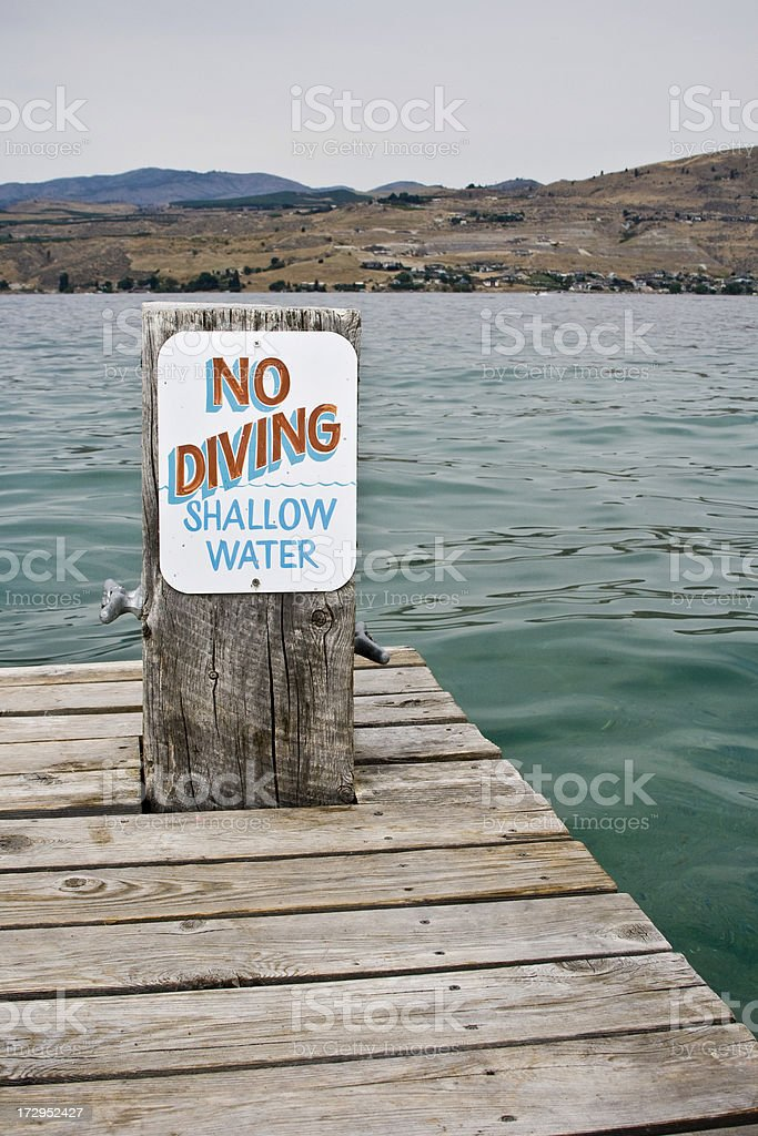 No Diving Shallow Water stock photo