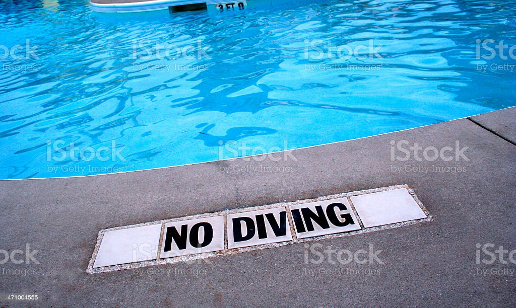 'No Diving' Shallow Water royalty-free stock photo