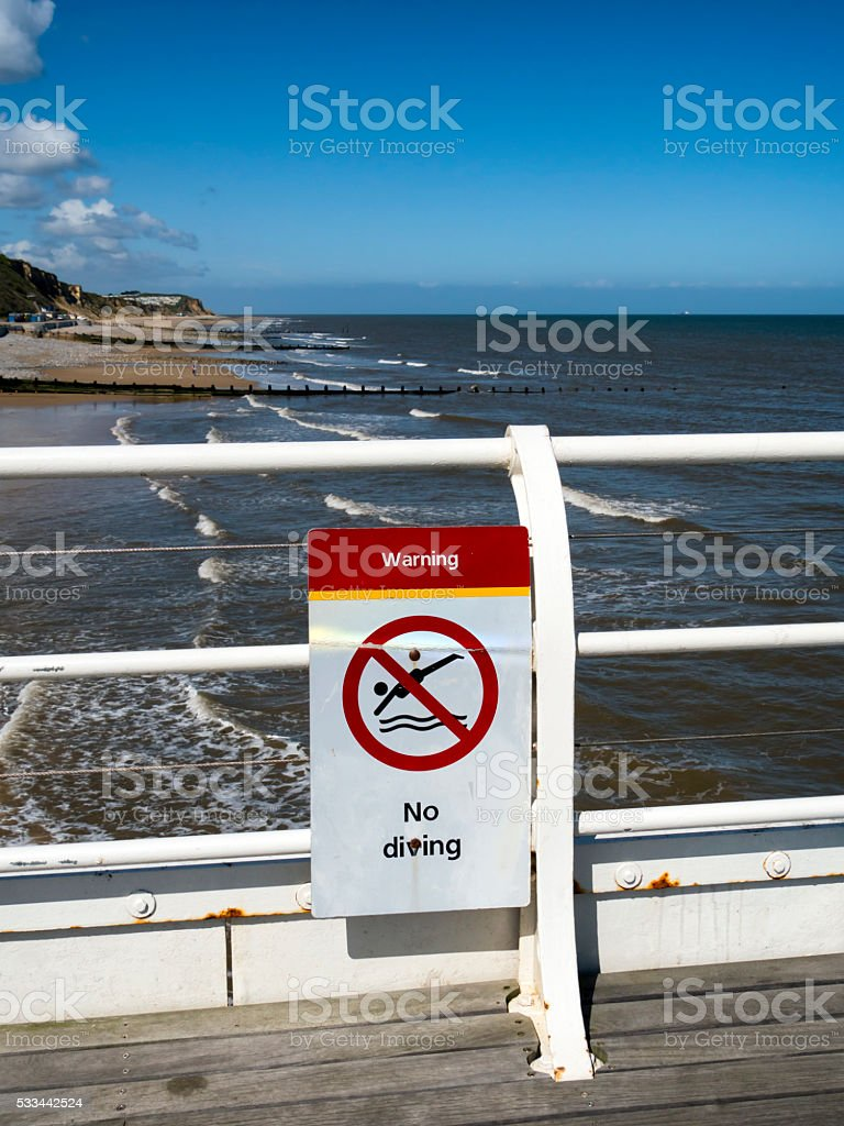 No Diving - sign on Cromer Pier stock photo