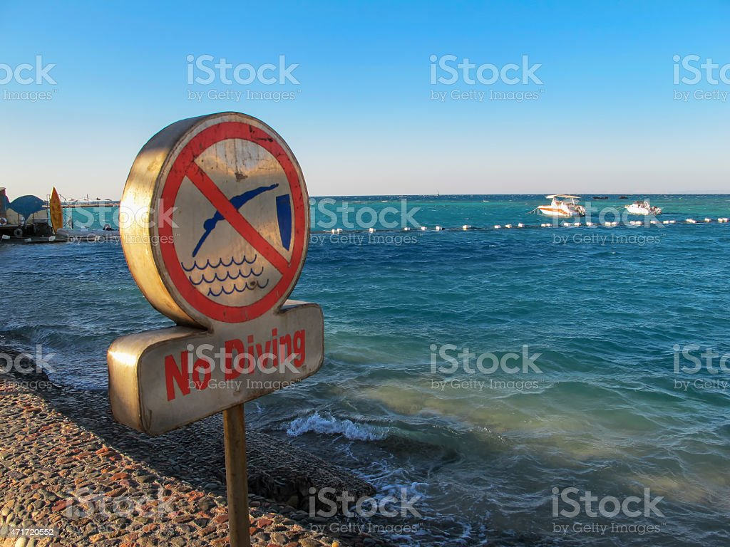 No diving sign stock photo