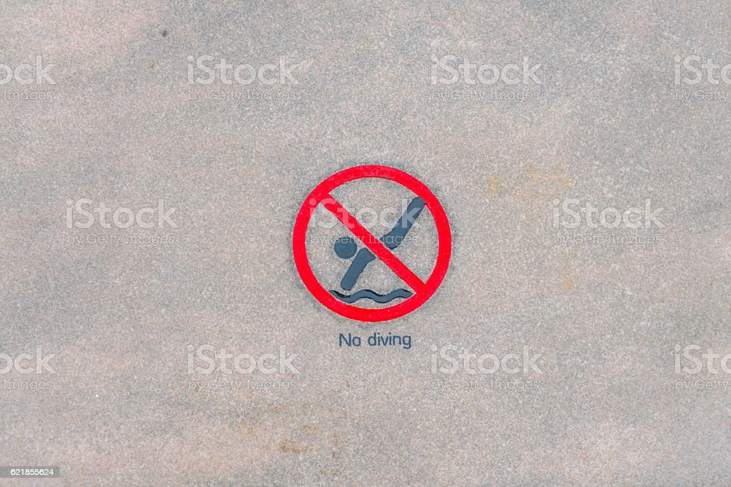 No diving warning sign at the poolside stock photo