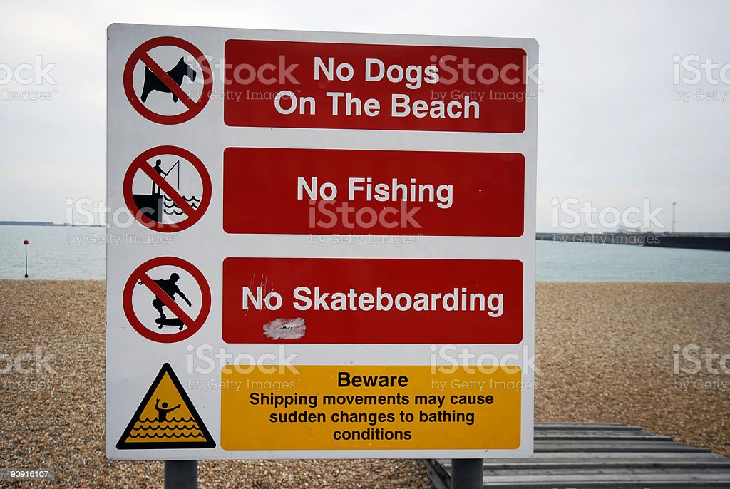 No dogs on the beach sign royalty-free stock photo