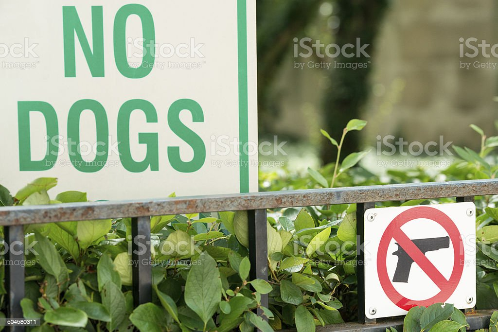 No Dogs or Guns stock photo