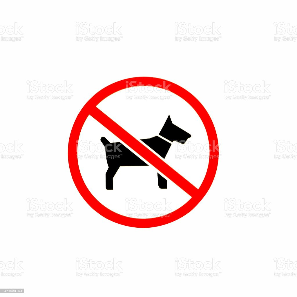 No dogs or pets allowed, warning sign, isolated round signage royalty-free stock photo