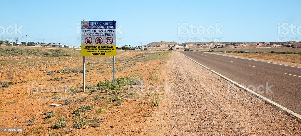 No drinking sign Coober Pedy Australia stock photo
