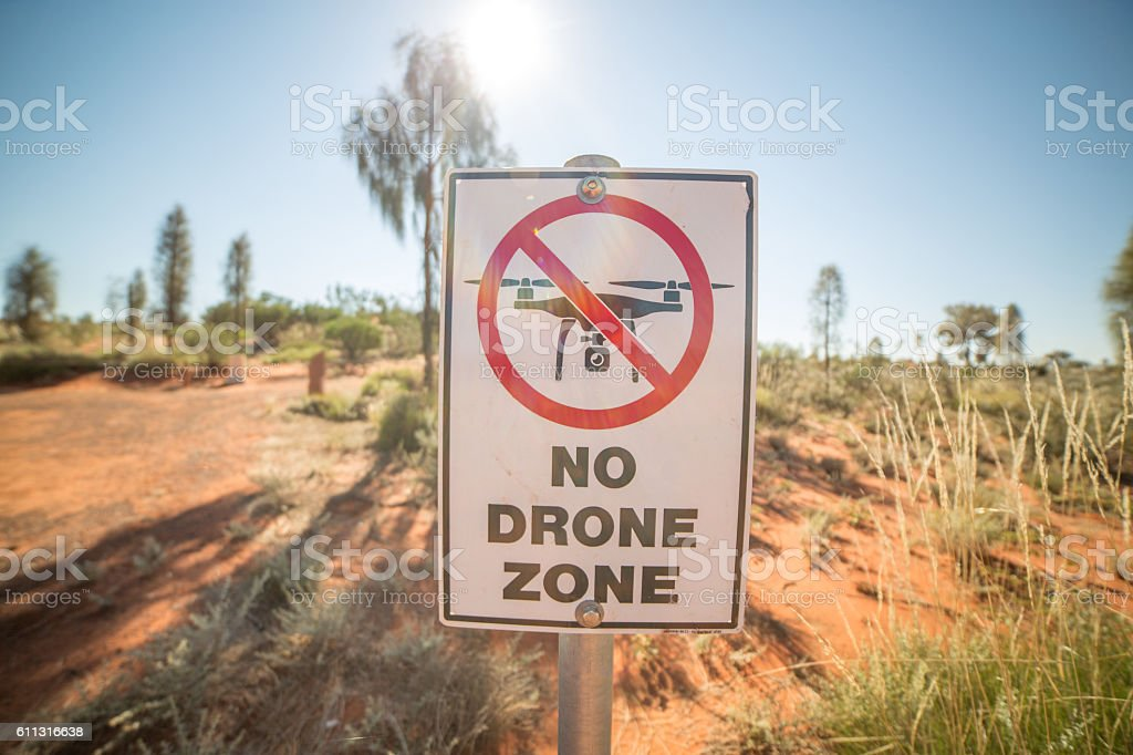 No drone zone warning sign stock photo