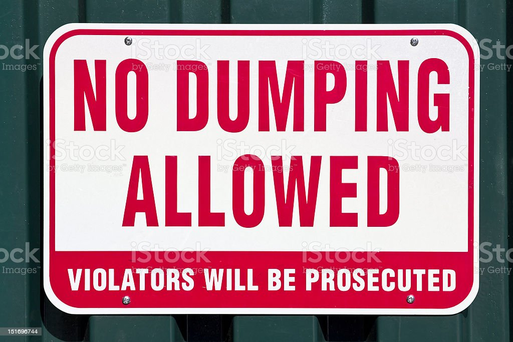 No Dumping Allowed stock photo
