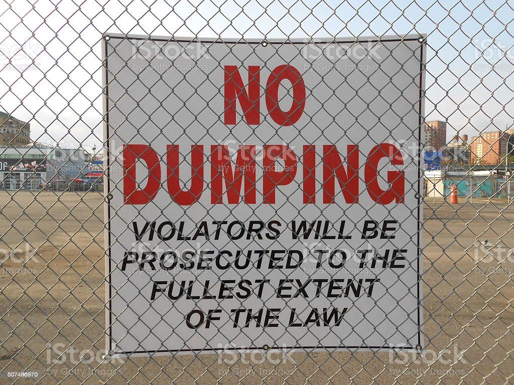 'No Dumping' Sign on Coney Island. stock photo
