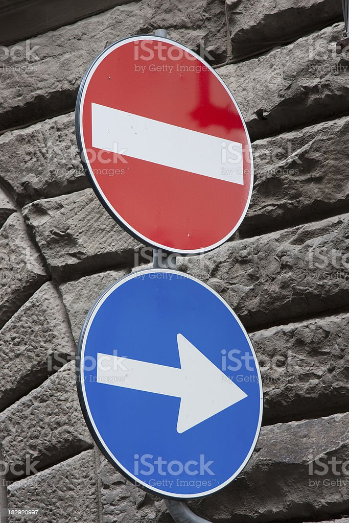 No enter and one way sign royalty-free stock photo