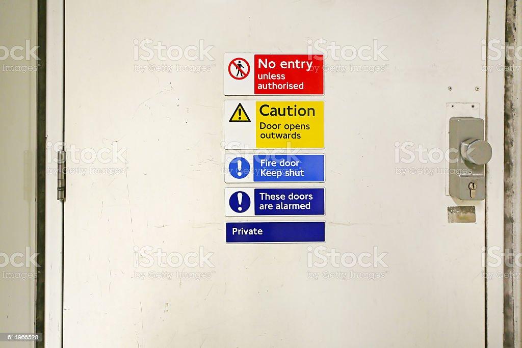 No Entry Door Sign stock photo