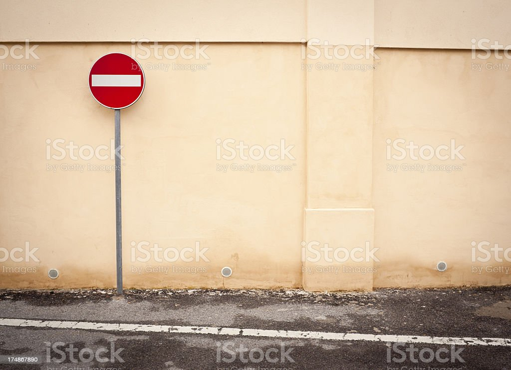 No Entry Sign Against Pink Wall royalty-free stock photo