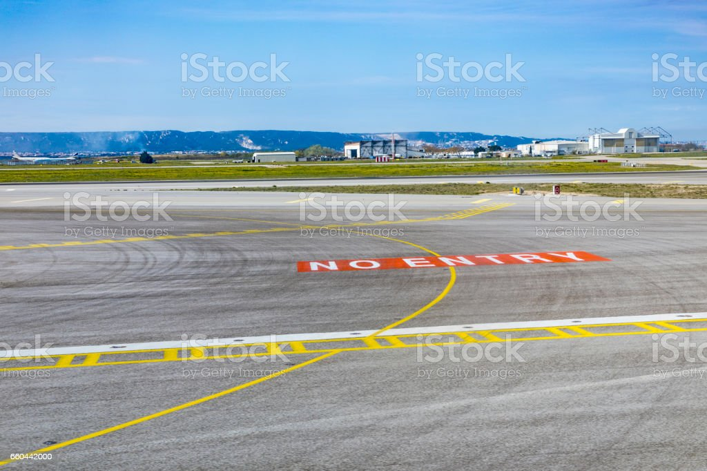no entry sign at the runway in Marseilles stock photo