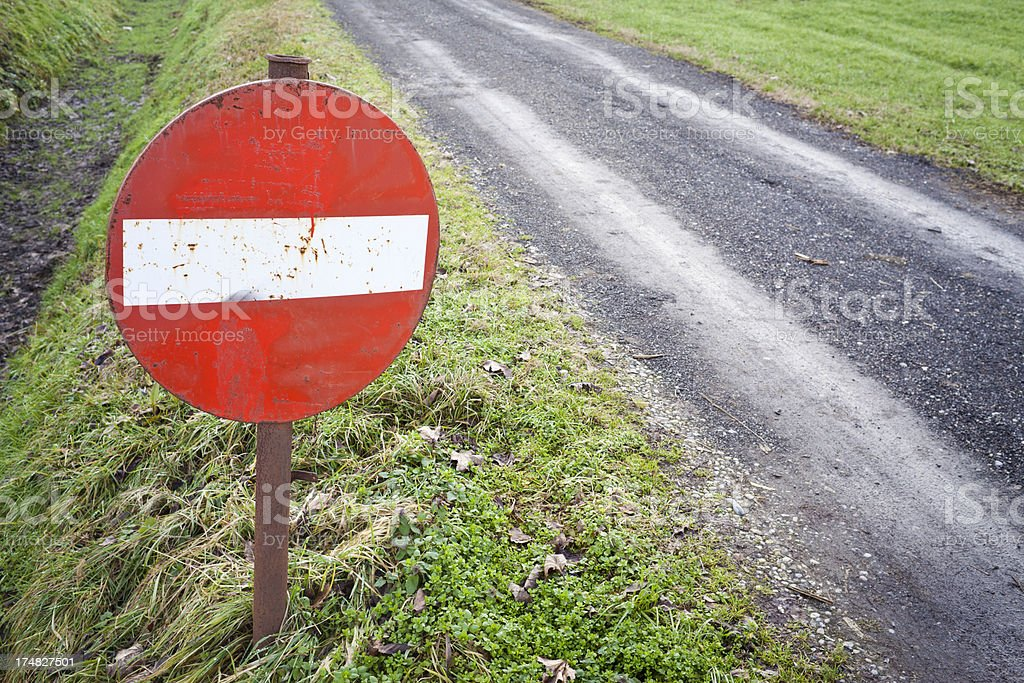 No Entry Sign In Country Road stock photo