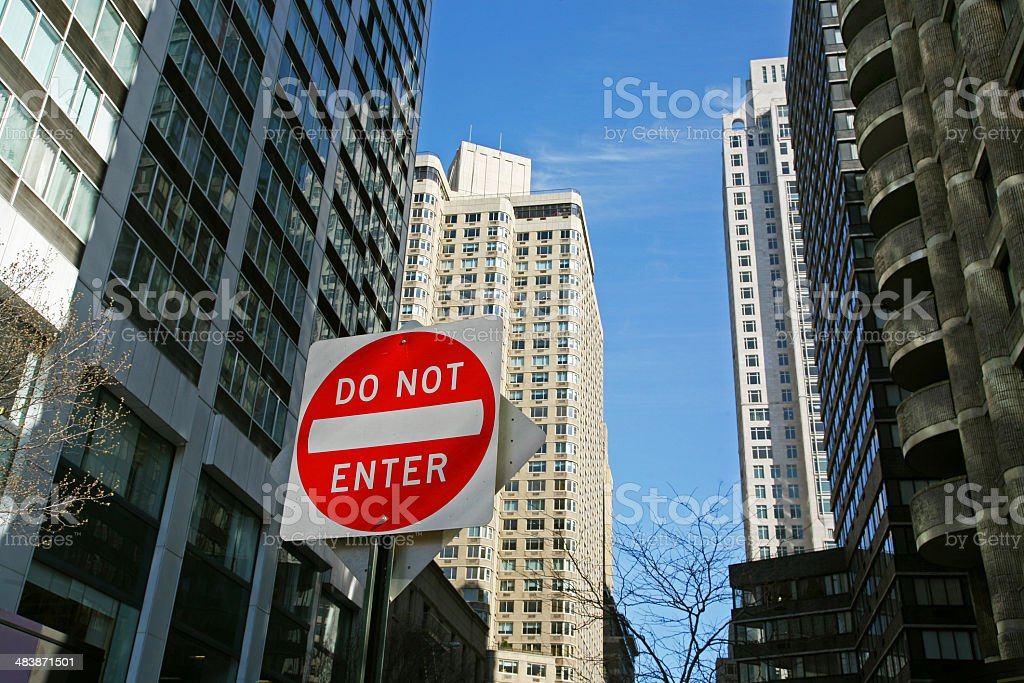 No Entry Sign On Residential Street stock photo